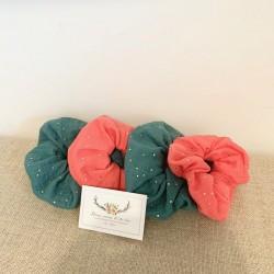 Pochette à barrettes personnalisable en lin et liberty Mitsy Turquoise