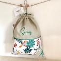 Sac à sacs en lin naturel, toile bordeaux et vichy à personnaliser