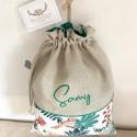 Pochette à barrettes personnalisable en lin et liberty Héloise rose