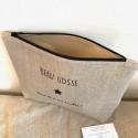 Pochette à barrettes personnalisable en lin et liberty Betsy Porcelaine