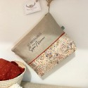 Trousse de toilette personnalisable en lin et Liberty of London Eloise rose