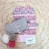 Sac pochon personnalisable en lin naturel et velours rouge pour Noël