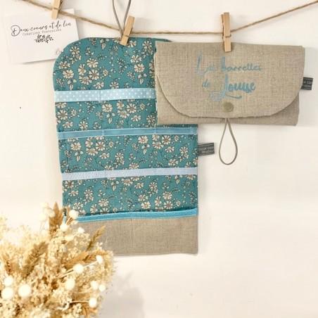 Pochette à barrettes personnalisable en lin et liberty Capel Turquoise