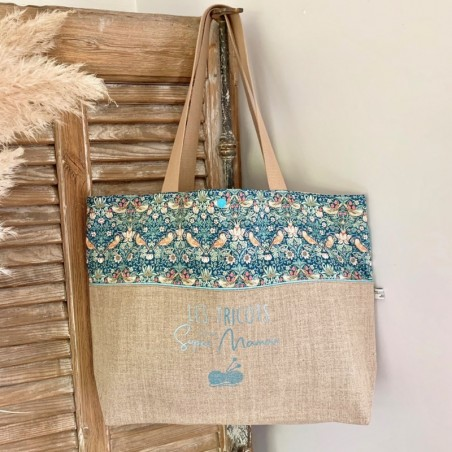 Sac cabas personnalisable lin et Liberty Strawberry turquoise
