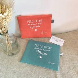 Sac pochette personnalisable en lin rose poudré et naturel Fête des Mères